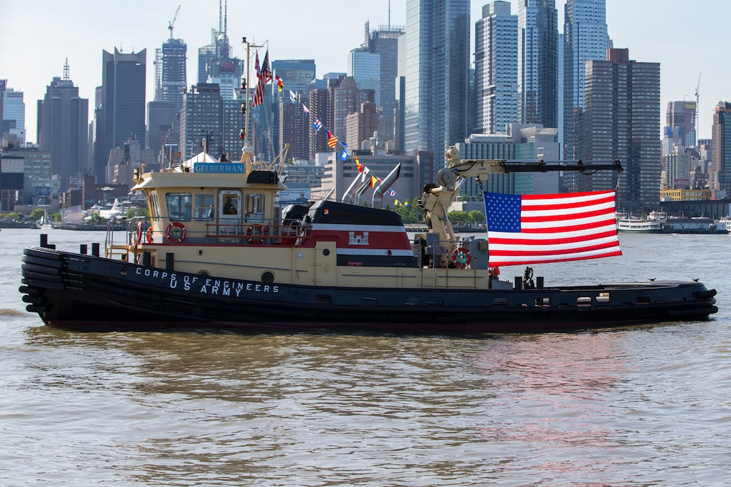 U.S. Army Corps of Engineers participates in the parade of ships as it arrives for Fleet Week New York, May 22, 2019. U.S. Marines, Sailors and Coast Guardsmen were in New York to interact with the public, demonstrate capabilities and teach the people of New York about America's sea services. (U.S. Marine Corps photo by Lance Cpl. Damaris Arias)