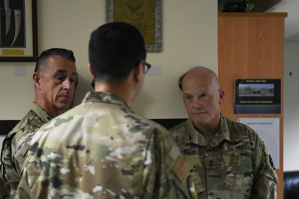 U.S. Army Maj. Gen. Christopher P. Callahan, Adjutant General Rhode Island National Guard, visits Al Dhafra Air Base, United Arab Emirates, May 18, 2019.