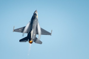 A pilot for the F-16 Viper Demonstration Team performs aerial maneuvers