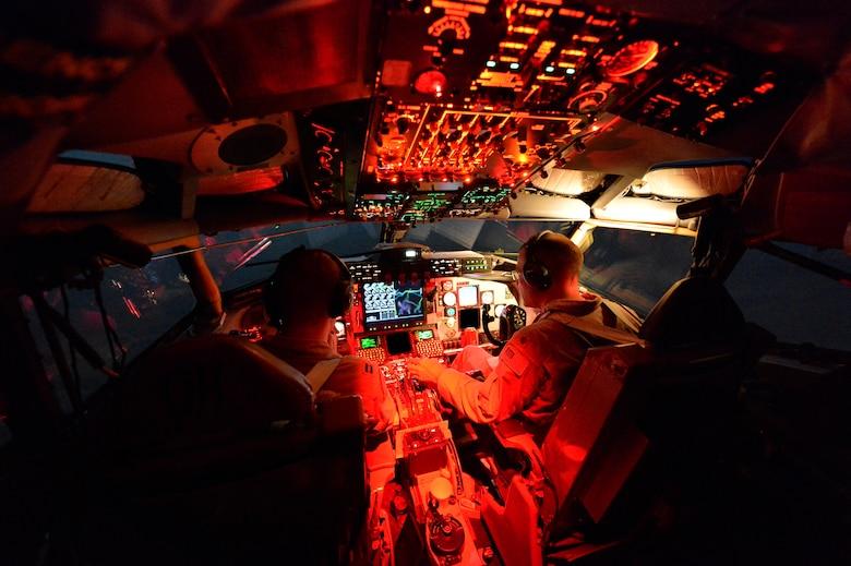 Airmen fly a KC-135 Stratotanker