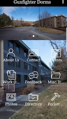 """""""Gunfighter Dorms"""" is a new app that caters to the needs of Airmen in the dorms at Mountain Home Air Force Base, Idaho. It provide readily available resources from submitting work orders remotely to looking up social events on its calendar. (Airman First Class Andrew Kobialka)"""