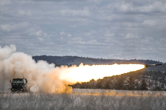 M142 High Mobility Artillery Rocket System launch