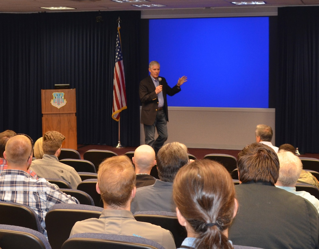 Dr. Larry McCallister addresses District employees during a town hall, March 20, 2019.