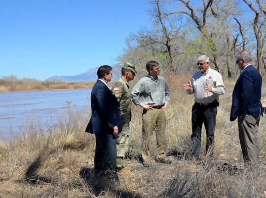 (left-right): John Drake, deputy; Lt. Col. Larry Caswell, District commander; Ryan Fisher; and (far right) Ryan Gronewold, chief of Planning; listen to Mike Hamman, chief engineer, MRGCD (2nd from right) discuss levee projects along the Rio Grande, March 28, 2019.
