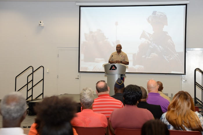 Col. Alphonso Trimble, commanding officer, Marine Corps Logistics Base Albany, served as the keynote speaker for the seventh annual Memorial Day Ceremony at Albany Technical College, May 24.  The ceremony was held in the Kirkland Conference Center and attended by faculty, staff, students and members of the local community.