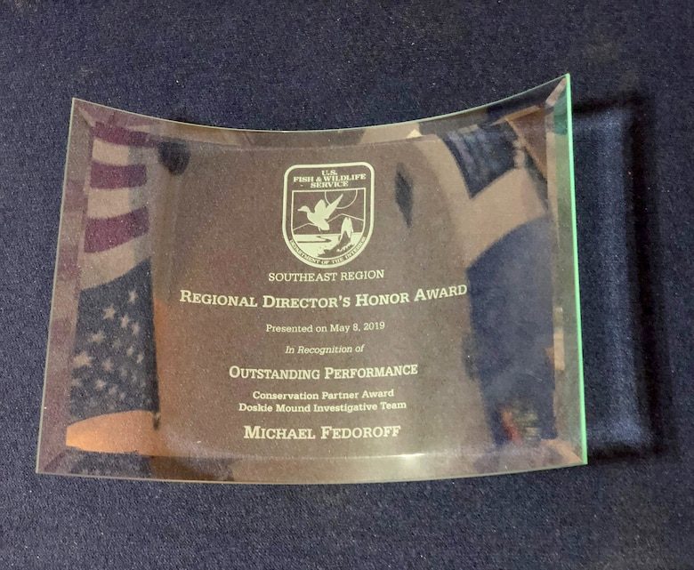 Close up of the award Michael Fedoroff, deputy director, Tribal Nations Technical Center of Excellence, was presented by the U.S. Fish and Wildlife Service, May 8, 2019, at the Southeast Regional Office, in Atlanta, Georgia.