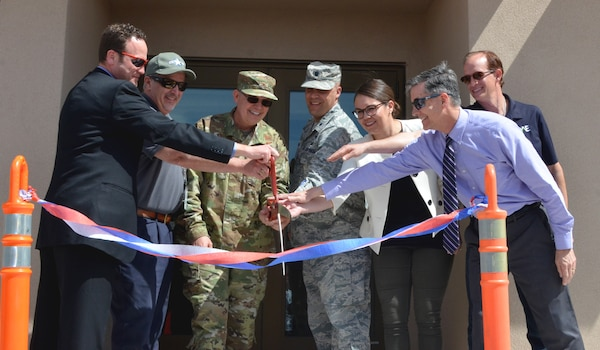 Ribbon-cutting participants, (l-r): Dr. David Chapman, AGT program manager; Barry Bunn, deputy director, Space Vehicles Directorate., Col. Eric J. Felt, commander, Space Vehicles Directorate; Lt. Col. Gregory Izdepski, deputy division chief, Geospace Technologies; Maria Mendoza, project manager, AFRL; Michael Goodrich, chief, Military and IIS Project Management Branch, Albuquerque District, USACE; and Jon Anthony, construction contractor, QA Engineering.