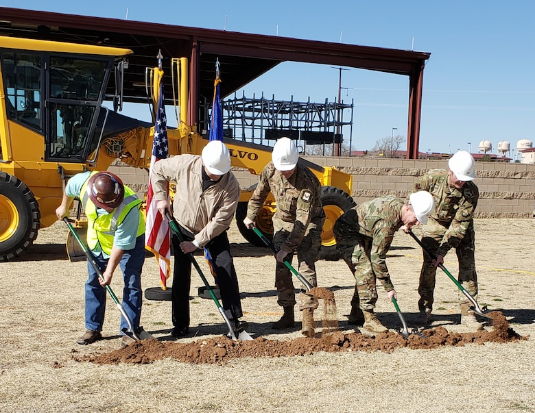 Participants of the ground-breaking ceremony for the North Fitness Center, March 12, 2019, at Cannon Air Force Base. (l-r): Robert Eblacas, contractor; David Schnabel, 27 SOCES; Lt. Col. Michael Stone, 27 SOFSS; Col. John Boudreaux, SG/CC; and Col. Nathan Owendoff, 27 SOW/CV. (Special thanks to Joanne Deleon, Can-non AFB.) Photos courtesy Cannon Air Force Base.
