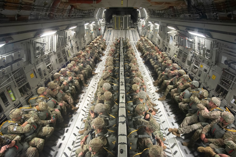 Soldiers of the 82nd Airborne Division prepare to jump out of a Charleston-based C-17 Globemaster III aircraft during the Palmetto Challenge Exercise May 23 near Pope Field, North Carolina.