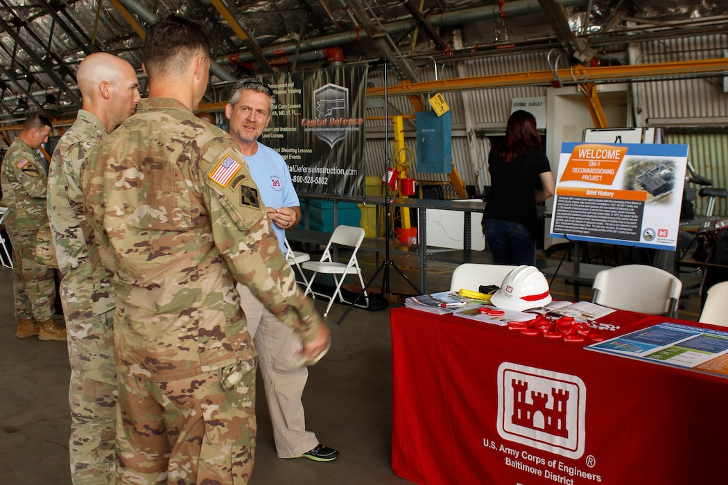 Radiological Health Physicist Hans Honerlah speaks with Soldiers at the U.S. Army Aviation Brigade's Safety Stand Down at Davison Army Airfield about plans for the final decommissioning and dismantling of the Deactivated SM-1 Nuclear Power Plant at Fort Belvoir Thursday May 23, 2019.