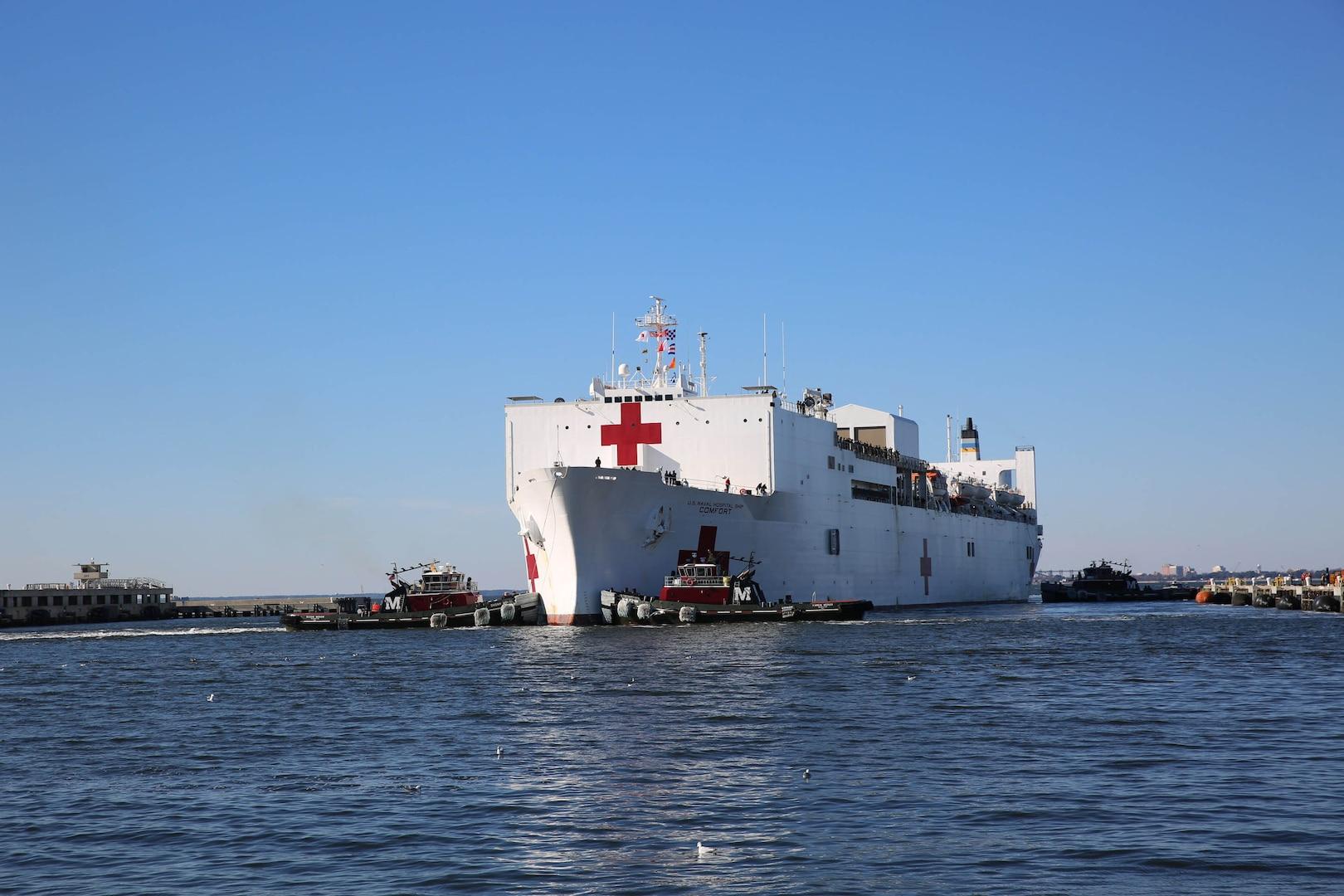 Hospital ship arrives in port.