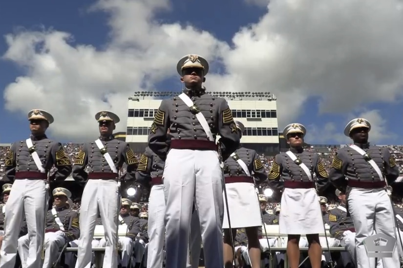 Cadets stand at attention.