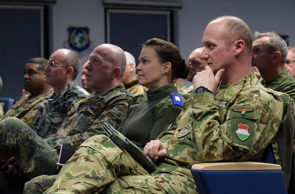 Senior enlisted leaders from across Europe attend a brief during the first European Air Forces Senior Enlisted Conference at Kisling NCO Academy, Kapaun Air Station, Germany, May 21, 2019.  Participants from 19 countries, including the United States, discussed multiple topics to help enhance personal growth, increase interoperability, and build partnership capacity. (U.S. Navy photo by Mass Communication Specialist 2nd Class Deanna C. Gonzales)