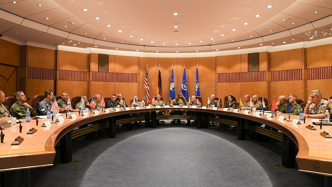 Senior enlisted leaders from across Europe attend the first European Air Forces Senior Enlisted Conference at Ramstein Air Base, Germany, May 21, 2019. Participants from 19 countries, including the United States, discussed multiple topics to help enhance personal growth, increase interoperability, and build partnership capacity. (U.S. Navy photo by Mass Communication Specialist 2nd Class Deanna C. Gonzales)