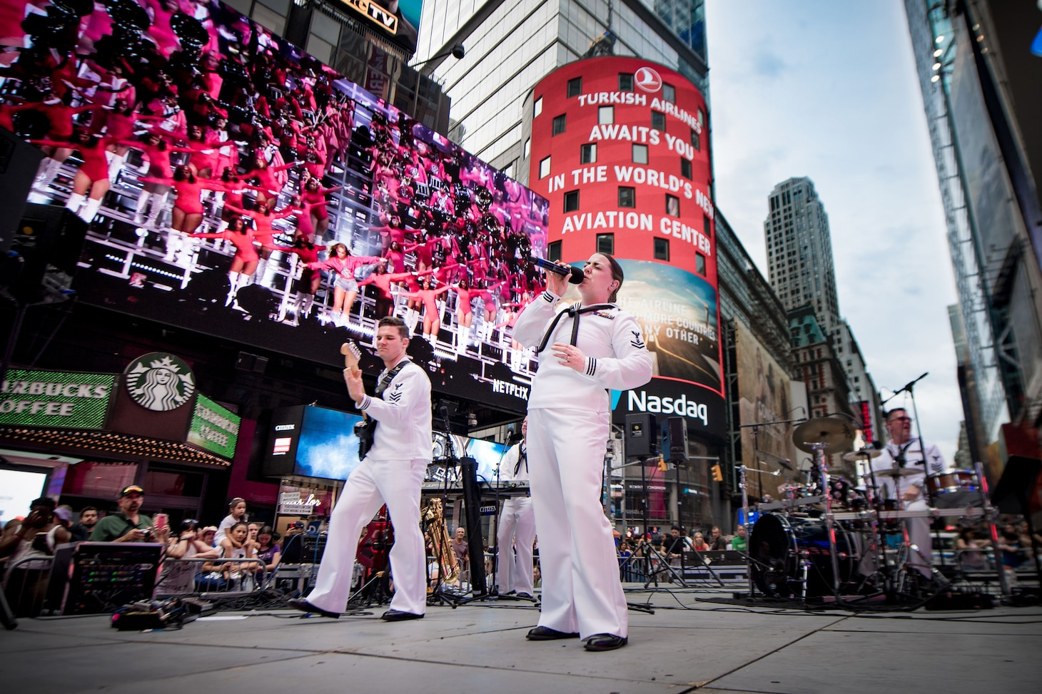 Navy Band Northeast's Rhode Island Sound performs at Times Square during Fleet Week New York (FWNY) 2019