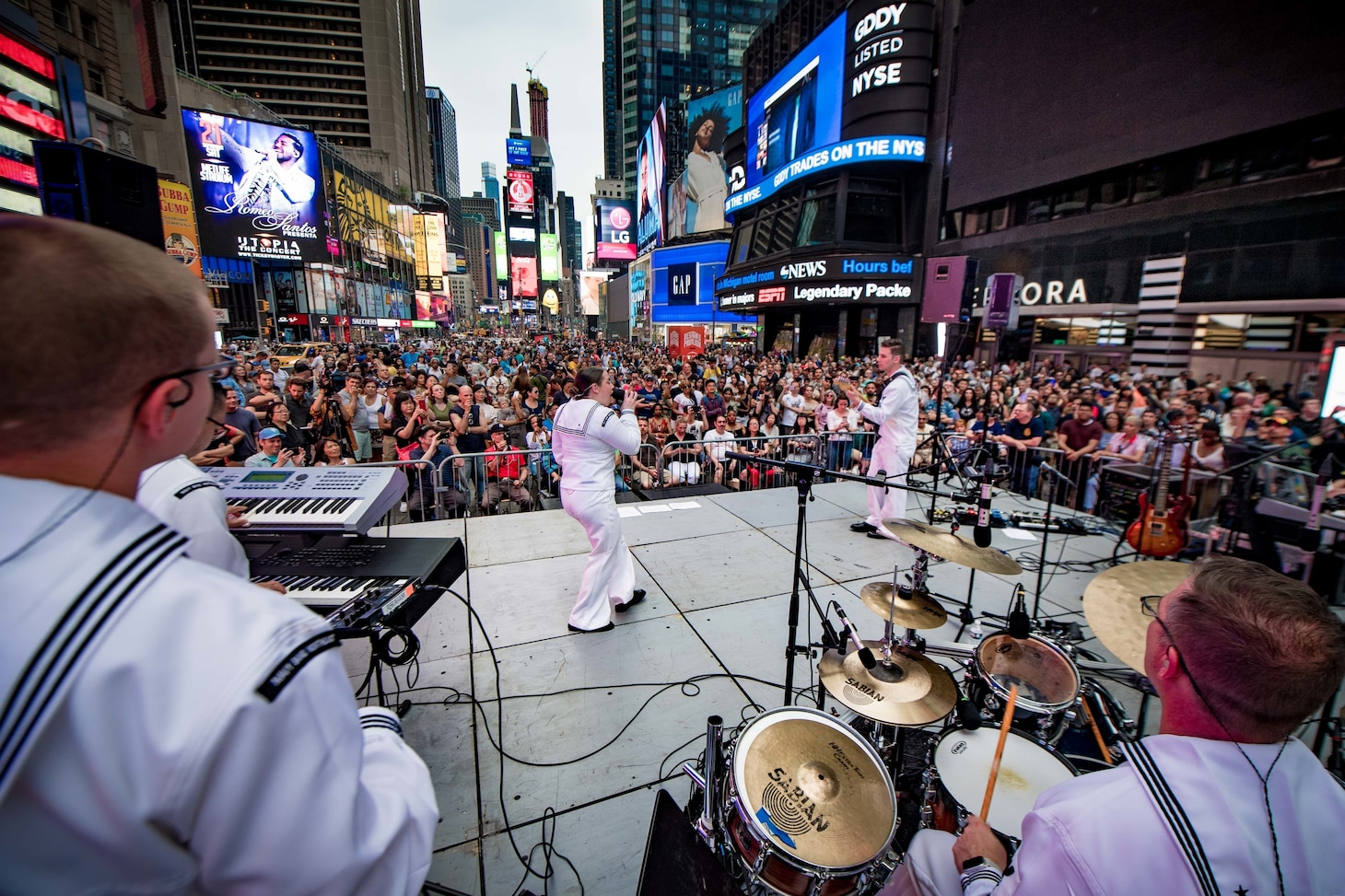 Navy Band Northeast's Rhode Island Sound performs at Times Square during Fleet Week New York (FWNY) 2019.