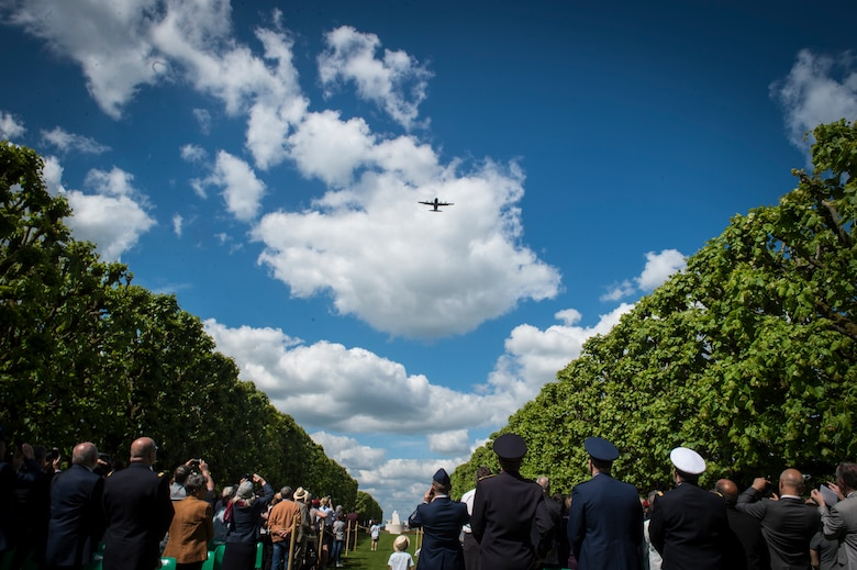 A 37th Airlift Squadron C-130J Super Hercules conduct a flyover during a Memorial Day ceremony at the Saint-Mihiel American Cemetery, Thiaucourt-Regniéville, France, May 26, 2019. The C-130J incorporates state-of-the-art technology, which reduces manpower requirements, lowers operating and support costs, and provides life-cycle cost savings over earlier C-130 models. (U.S. Air Force photo by Staff Sgt. Jonathan Bass)