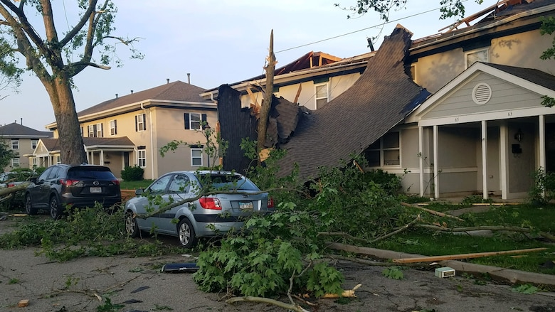 Approximately 150 homes in the Prairies at Wright Field housing area were damaged, some significantly, during the storm that passed through the Dayton area late on May 27.  (U.S. Air Force photo/Wes Farnsworth)