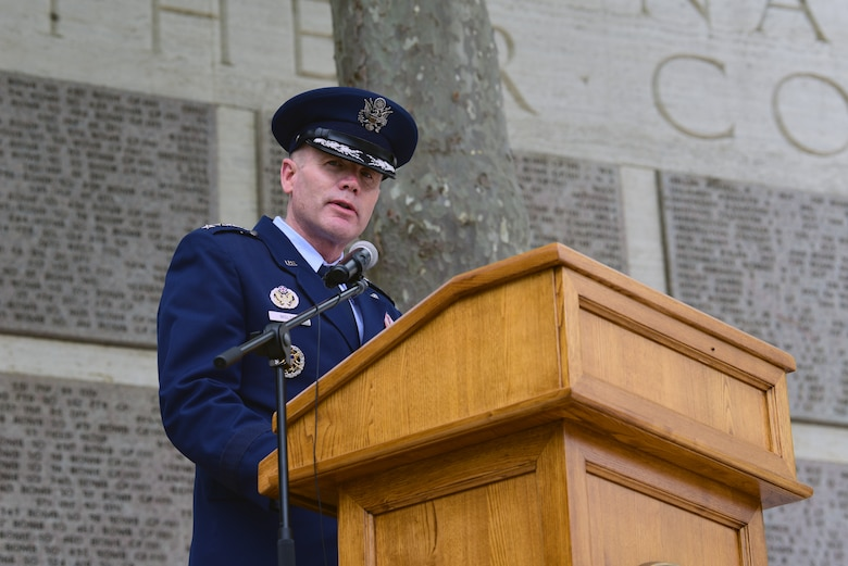 Gen. Tod D. Wolters, commander of U.S. European Command and NATO Supreme Allied Commander Europe, speaks at the Florence American Cemetery Memorial Day event in Florence, Italy on May 27, 2019. Wolters became the SACEUR on May 3, 2019. (U.S. Air Force photo by Airman 1st Class Caleb House)