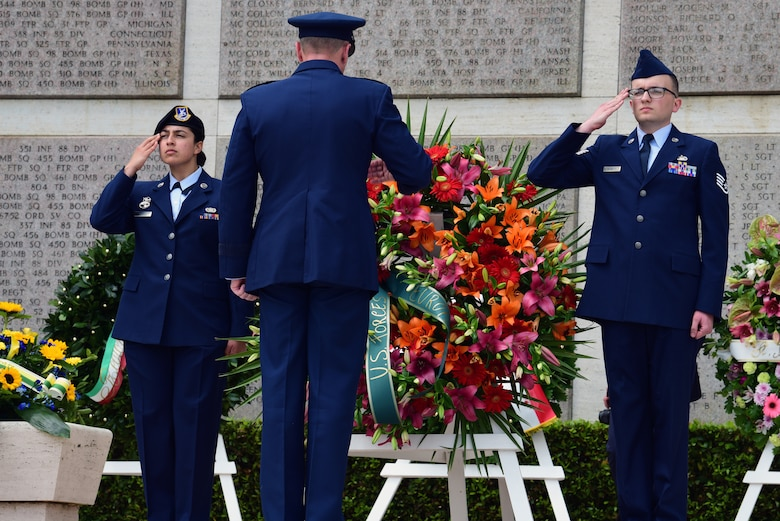 A wreath laying ceremony is held at the Florence American Cemetery Memorial Day event in Florence, Italy on May 27, 2019. Wreaths are presented to show the high esteem the men and women who have fallen are held in. (U.S. Air Force photo by Airman 1st Class Caleb House)