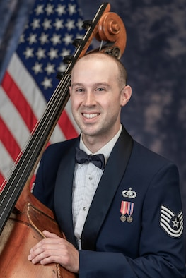 Official photo of Technical Sgt. Jonathan Davies, String Bassist with The United States Air Force Band, Joint Base Anacostia-Bolling, Washington, D.C.