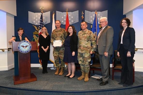 U.S. service members and civilians receive awards in honor of 2018 Defense Suicide Prevention Month at the Pentagon in Arlington, Va., May 15, 2019.  (U.S. Army photo by Laura Buchta)