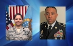 (left) DLA Energy Middle East Air Force Maj. Sharon Large was selected for the DLA Energy Field Grade Officer of the Quarter and (right) DLA Energy Americas East Army Sgt. 1st Class Stacy Mouzon was selected as the DLA Energy Senior Enlisted Noncommissioned Officer of the Quarter.