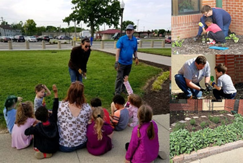 Collage of photos: lady speaks to class, child plants with adult assistance, garden