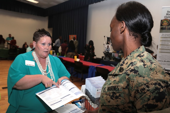 Marine Corps Community Services held its annual Career & Education Fair aboard Marine Corps Logistics Base Albany, May 22. More than 40 employers ranging from manufacturing, law enforcement, colleges/universities and several other industries shared employment opportunities with active-duty personnel, reservists, veterans and family members. (U.S. Marine Corps photo by Re-Essa Buckels)