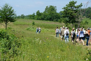 people walking in a group on a guided tour through an environmental area at Fort Indiantown Gap in Lebanon County, PA