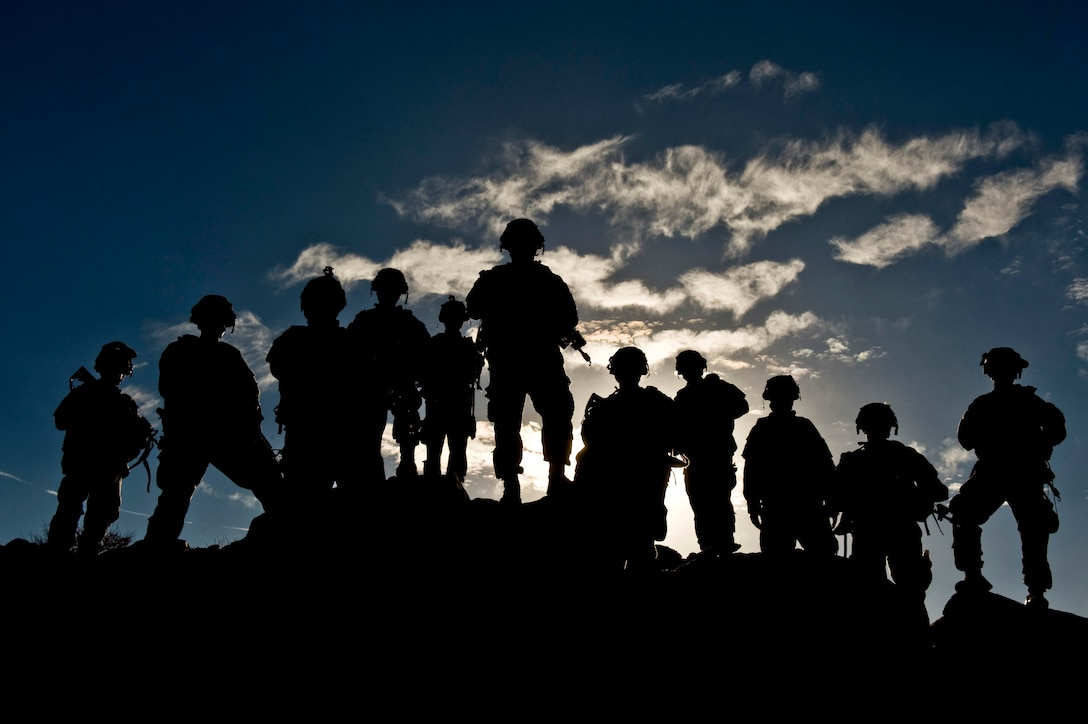 Eleven soldiers stand on a hilltop in silhouette.
