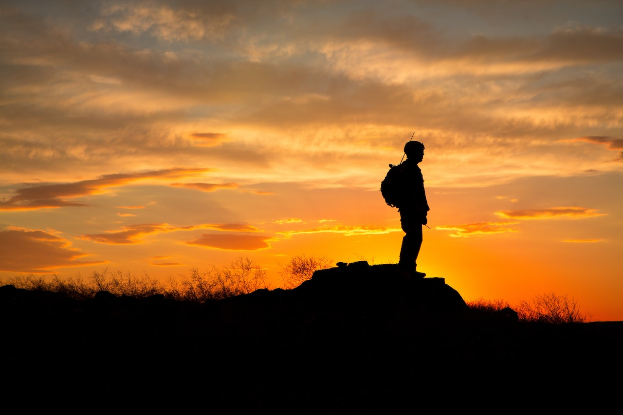 A lone soldier stands in silhouette on a hilltop.