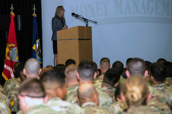 Kathy Kraninger, director of the Consumer Financial Protection Bureau, spoke about the newly expanded Misadventures in Money Management, or MiMM, before an assembly of more than 1,000 service members at the Academic Support Building at JBSA-Fort Sam Houston.