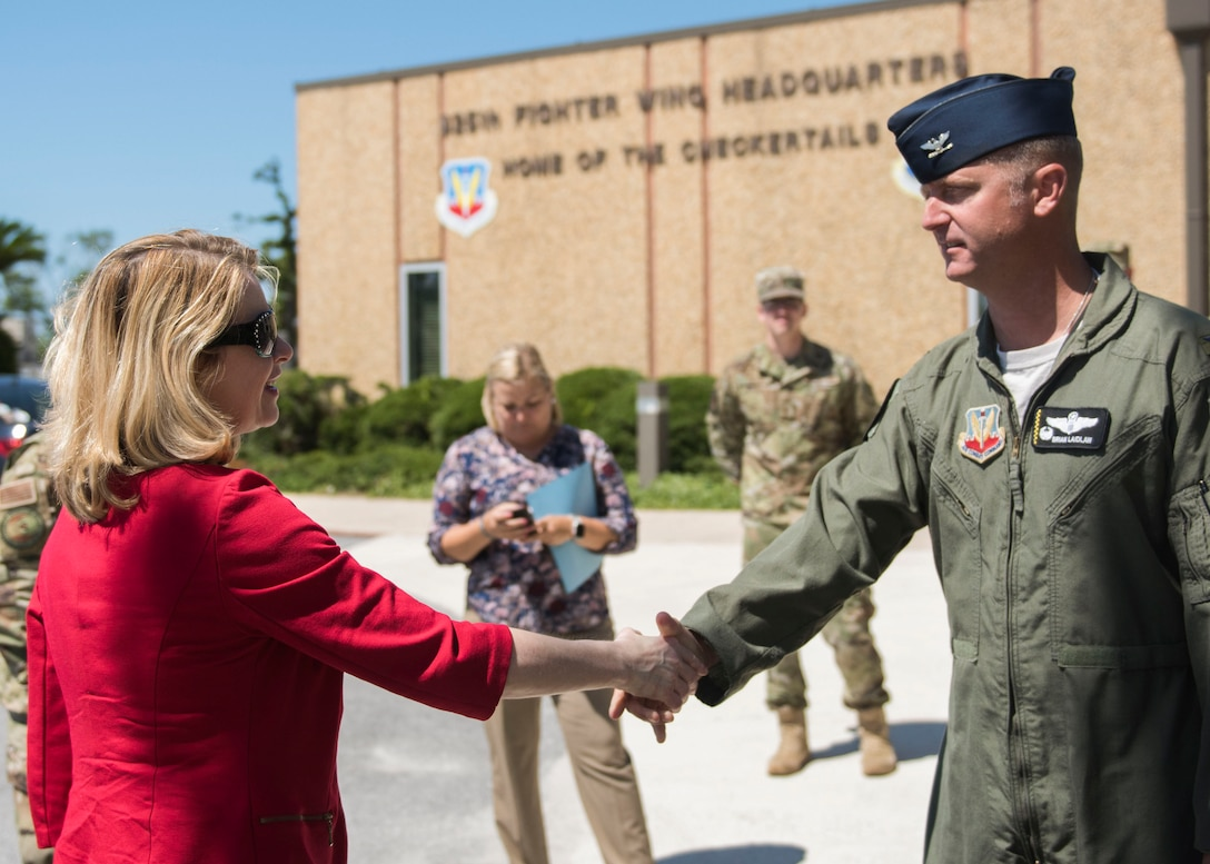 Marilyn M. Thomas, Headquarters U.S. Air Force Principal Deputy Assistant Secretary for Financial Management and Comptroller, meets U.S. Air Force Col. Brian Laidlaw, 325th Fighter Wing commander, May 22, 2019, at Tyndall Air Force Base, Florida.