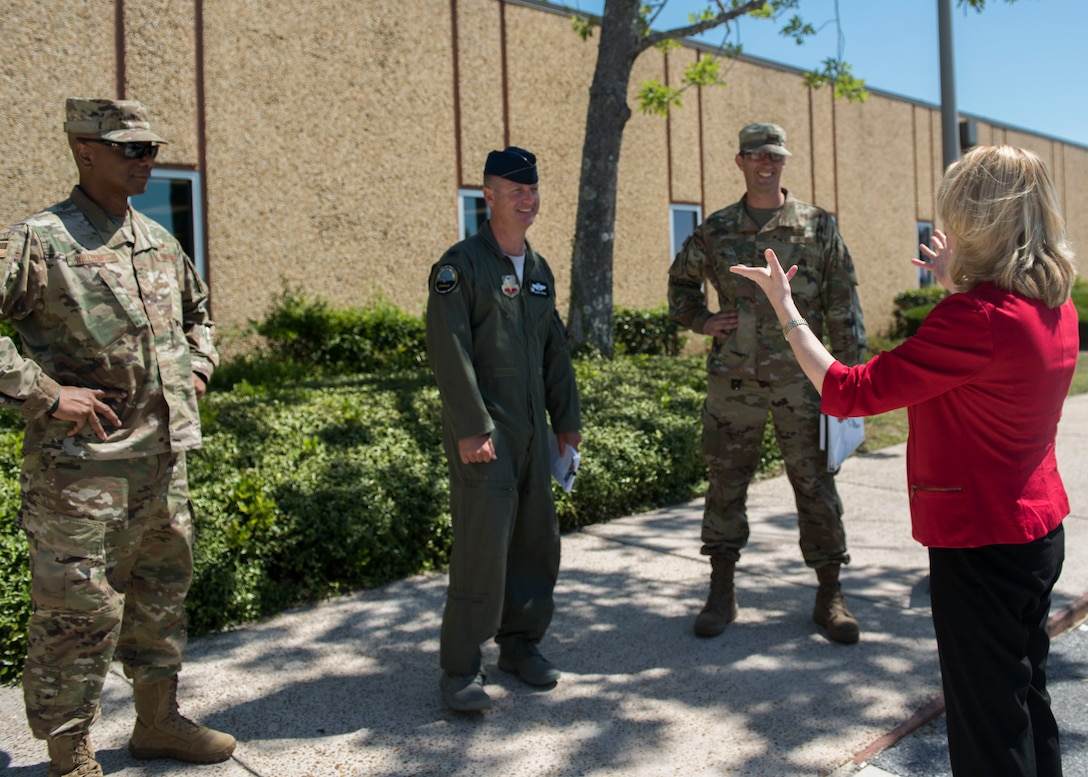 Marilyn M. Thomas, Headquarters U.S. Air Force Principal Deputy Assistant Secretary for Financial Management and Comptroller, (right) speaks to Tyndall leadership May 22, 2019, at Tyndall Air Force Base, Florida.