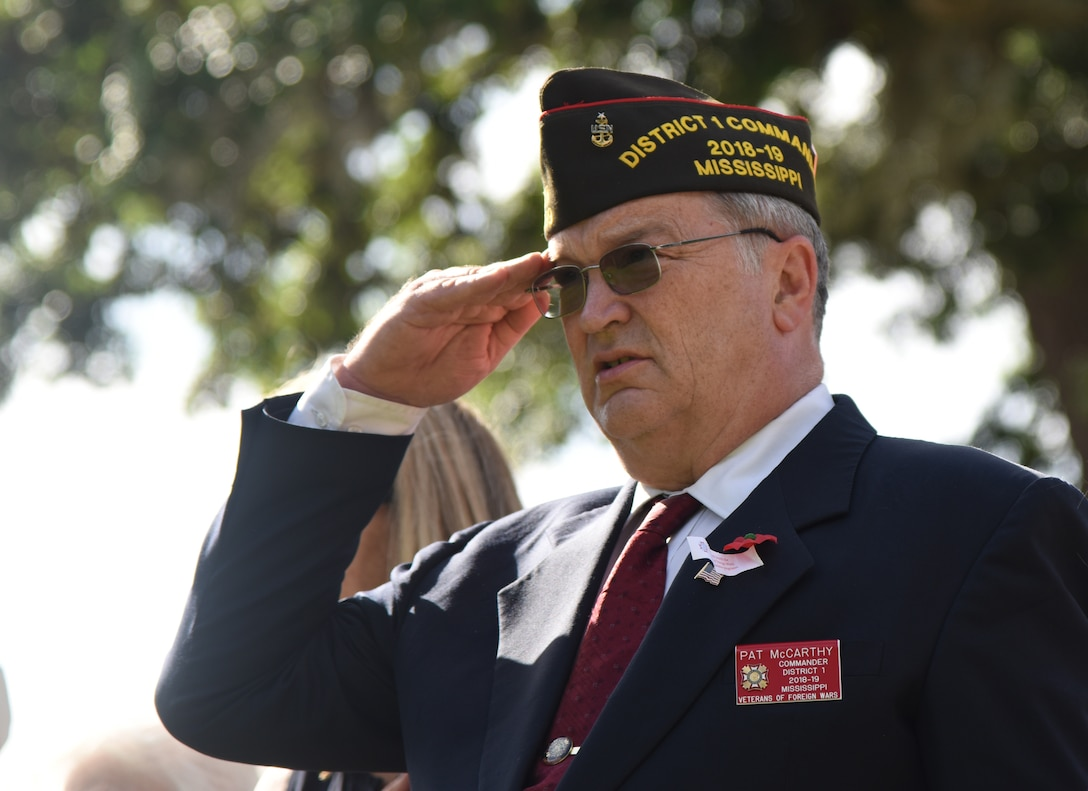 U.S. Navy veteran Pat McCarthy renders a salute during the Biloxi National Cemetery Memorial Day Ceremony in Biloxi, Mississippi, May 27, 2019. The ceremony honored those who have made the ultimate sacrifice while serving in the armed forces. Biloxi National Cemetery is the final resting place of more than 23,000 veterans and their family members. Eight hundred burials take place there every year for men and women who served in wars years ago and for those defending America today. (U.S. Air Force photo by Kemberly Groue)
