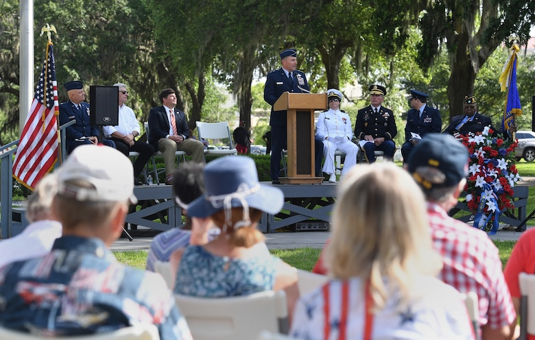 U.S. Air Force Maj. Gen. Timothy Leahy, Second Air Force commander, delivers remarks during the Biloxi National Cemetery Memorial Day Ceremony in Biloxi, Mississippi, May 27, 2019. The ceremony honored those who have made the ultimate sacrifice while serving in the armed forces. Biloxi National Cemetery is the final resting place of more than 23,000 veterans and their family members. Eight hundred burials take place there every year for men and women who served in wars years ago and for those defending America today. (U.S. Air Force photo by Kemberly Groue)