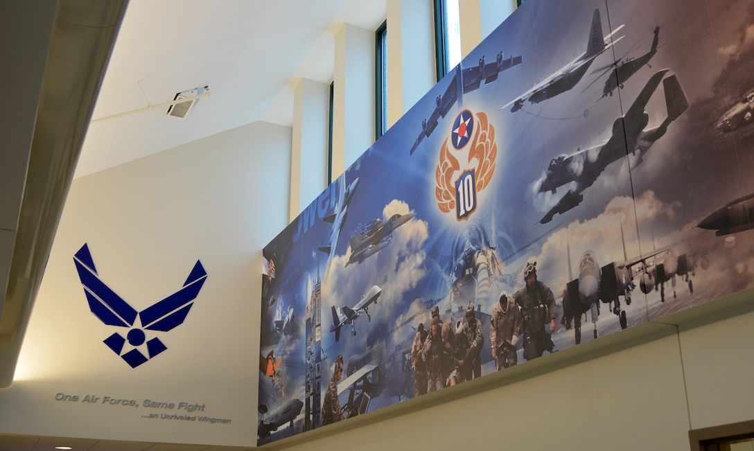 The 10th Air Force headquarters building located at Naval Air Station Fort Worth Joint Reserve Base, Texas, May 8, 2019. The mission of the Tenth Air Force is to organize, train and equip mission-ready Reserve Citizen Airmen, showcasing how they enable our units to fly, fight and win in air, space and cyberspace.