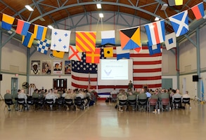 Several dozen Air Force Reserve officers participate in the final session of the annual Combat Planning Council, at Naval Air Station Fort Worth Joint Reserve Base, Texas, May 9. The CPC brings all 17 Air Force Reserve units within the 10th Air Force together for several days, allowing them to align efforts, goals and strategic plans face-to-face.