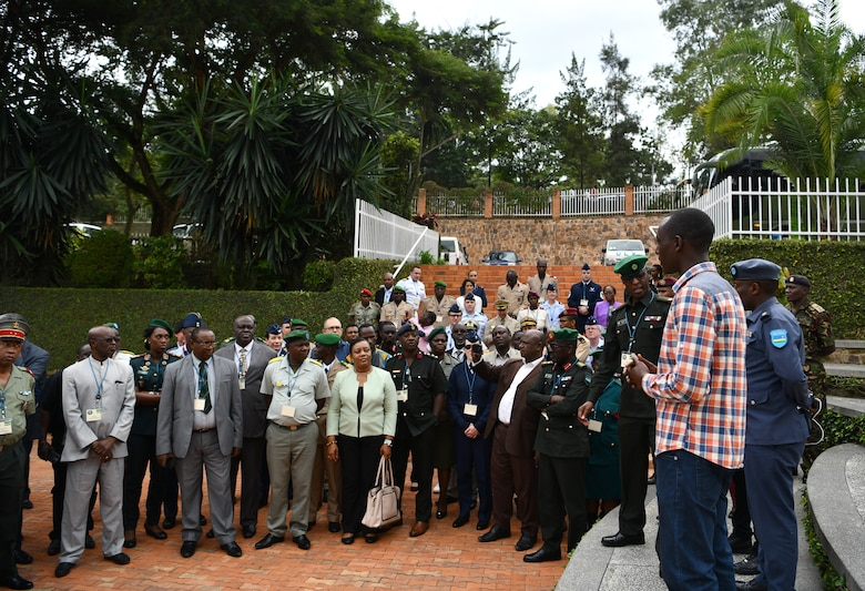 U.S. Air Force Airmen and delegates from over 24 African partner nations visit the Kigali Genocide Memorial in Kigali, Rwanda on May 22, 2019. There were 115 participants at the African Partner Outbreak Response Alliance (APORA) conference and many got the opportunity to visit the memorial. During APORA, military and civilian leaders worked together to align best practices and improve response capabilities for potential outbreaks of contagious diseases. The training bolstered relationships with current partners and mobilize new partners to strengthen pandemic prevention programs. (U.S. Air Force photo by Master Sgt. Andy M. Kin)