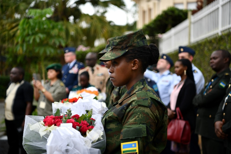 U.S. Air Force Airmen and delegates from over 24 African partner nations visit the Kigali Genocide Memorial in Kigali, Rwanda on May 22, 2019. There were 115 participants at the African Partner Outbreak Response Alliance (APORA) conference and several got an opportunity to visit the memorial. During APORA, military and civilian leaders worked together to align best practices and improve response capabilities for potential outbreaks of contagious diseases. The training bolstered relationships with current partners and mobilize new partners to strengthen pandemic prevention programs. (U.S. Air Force photo by Master Sgt. Andy M. Kin)