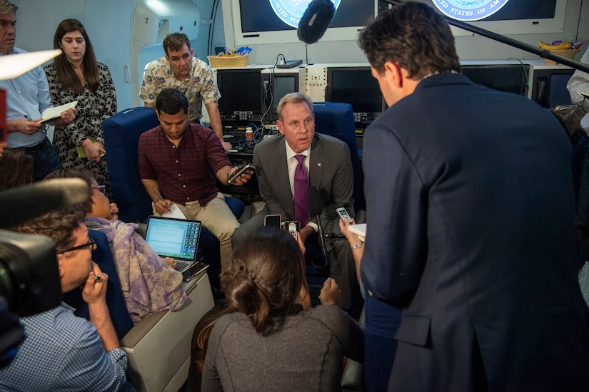 Acting Defense Secretary Patrick M. Shanahan speaks to reporters.