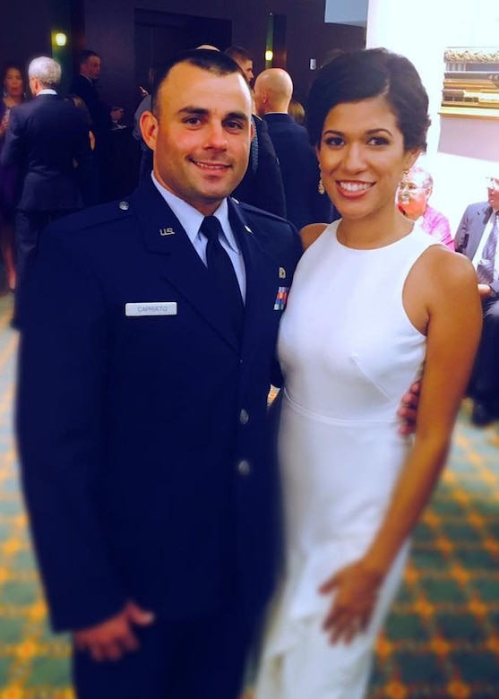 U.S. Air Force 2nd Lt. Nicolas Capriato and his wife Cristina pose for a photo.