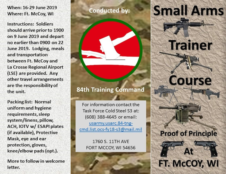 The Small Arms Training Academy (SATA) at Fort McCoy is conducting a Proof of Principal class for small arms training coursework on 16 to 29 June.
