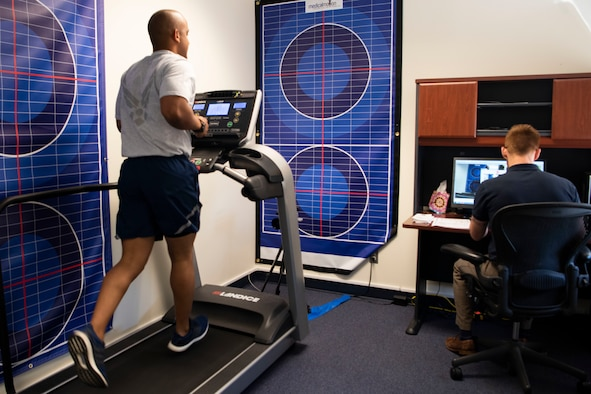 An Airman, 27th Special Operations Wins, runs on a treadmill at Cannon Air Force Base, N.M., May 15, 2019. The Commando Readiness Center has everyone run on a treadmill for a gait analysis to determine whether or not they are running properly or in a manner that would cause future injury. (U.S. Air Force photo by Airman 1st Class Gage Daniel)
