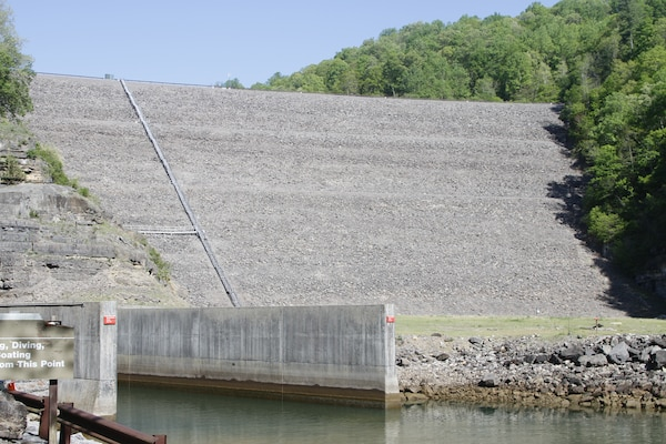 Gathright Dam in Alleghany County, Virginia, impounds water flowing down the Jackson River to create the 2,500-acre Lake Moomaw. Since opening in 1979, the dam has prevented numerous floods, saving countless dollars and lives.