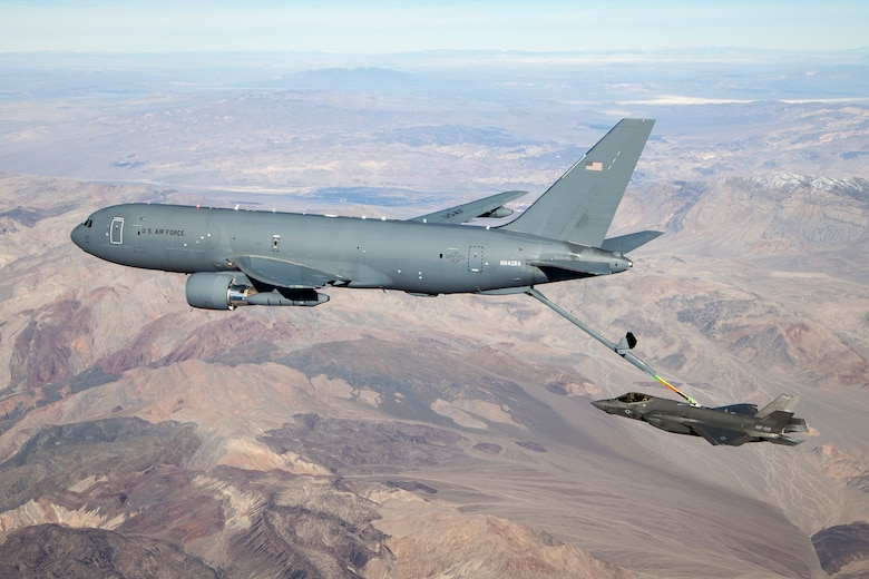 A KC-46A Pegasus connects with an F-35 Lightning II in the skies over California Jan. 22, 2019.  The Air Force confirmed the selection of Wright-Patterson AFB, Ohio to host the F-35 Hybrid Product Support Integrator Organization May 29. (U.S. Air Force photo by Ethan Wagner)