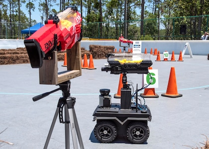 The 2019 Director's Cup competition course heated up May 22 at the Naval Support Activity Panama City Roller Hockey Rink. The biennial competition challenges each NSWC PCD technical department team to create and field a fully autonomous, artificially intelligent, ground-based vehicle to neutralize a dangerous battlespace.