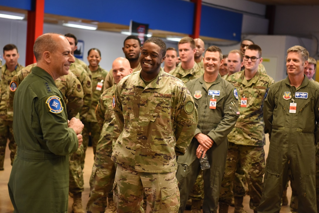 Gen. Jeffrey L. Harrigian, Commander U.S. Air Forces in Europe and Air Forces Africa (USAFE- AFAFRICA) visits U.S. Air Force personnel assigned to the Air National Guard's 169th Fighter Wing from McEntire Joint National Guard Base supporting of Arctic Challenge Exercise 2019 at Kallax Air Base, Lulea, Sweden, May 27, 2019. ACE 19 is a Nordic aviation exercise that provides realistic, scenario based training to prepare U.S. forces for enemy defensive systems. U.S. forces are engaged, postured and ready to deter and defend in an increasingly complex security environment. (U.S. Air National Guard photo by Senior Master Sgt. Edward Snyder)