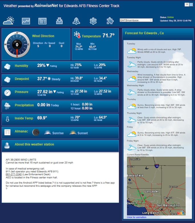 Team Edwards members can now check real-time weather conditions from anywhere around the base. Visit https://rainwise.net/weather/EAFBmainbase to check the current conditions now. A smart phone app is currently in development. (U.S. Air Force graphic by Giancarlo Casem)